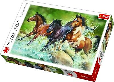 Trefl 1500 Piece Adult Large Three Wild Horses Galloping Floor Jigsaw Puzzle NEW