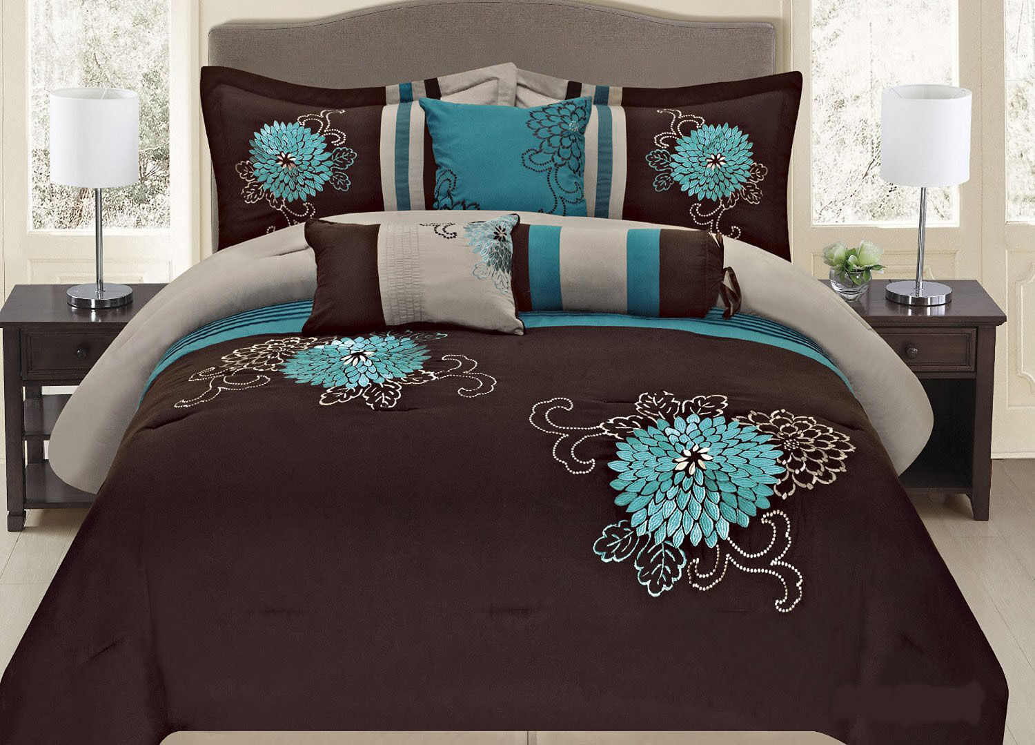 Bedding sets turquoise - Comforter Sets California King Fancy Linen 7 Pc Embroidery Bedding Brown Turquoise Comforter Set