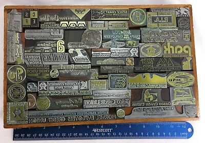 Letterpress Printer Block Press Metal Mounted Assorted Credit Union 55 Stamps