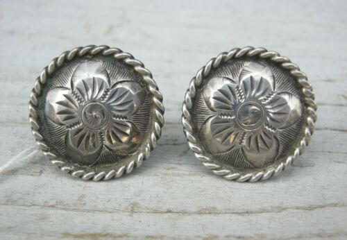 """Engraved Silver Rope Edge Floral Conchos PAIR 7/8"""" 23832"""