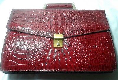 - Vintage Leather Envelope Purse Handbag Slim Mini Briefcase Croco Emboded Red