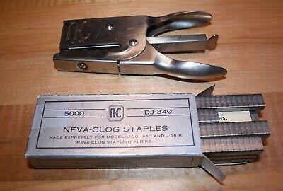 Vintage Neva-clog Model J-30 Stapler With Box Of Staples