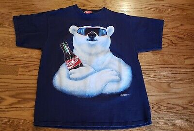 Vintage 90's Coke Coca Cola Polar Bear Blue T Shirt  XL USA Made