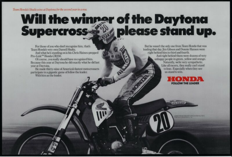 1982 Honda Motorcycle Race Win Ad • Daytona Supercross • Agency proof—laminated