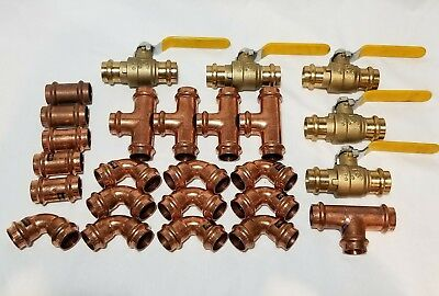 Lot Of 25 1 Propress Copper Fittings.tees Elbows Coupling Press Ball Valv