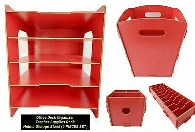 Office Desk Organizer Supplies Rack Holder Teacher Storage Stand 4 Pieces Set