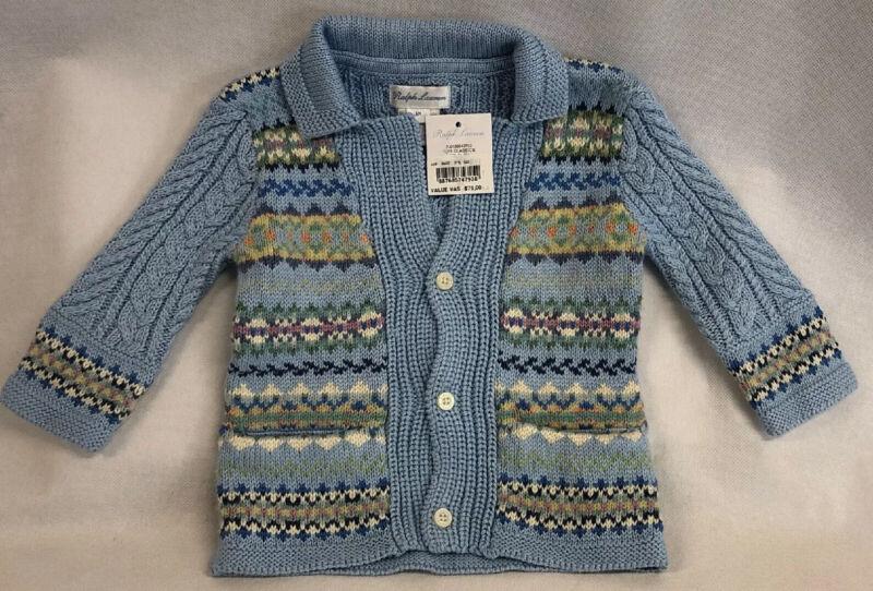 Ralph Lauren Infant Girls Baby Cardigan Sweater 6M Fair Isle Light Blue NWT