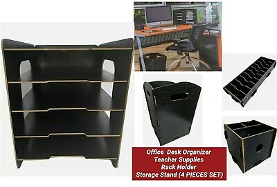 Desk File Documents Organizer Supplies Rack Holder Teacher Storage Stand 4 Pcs