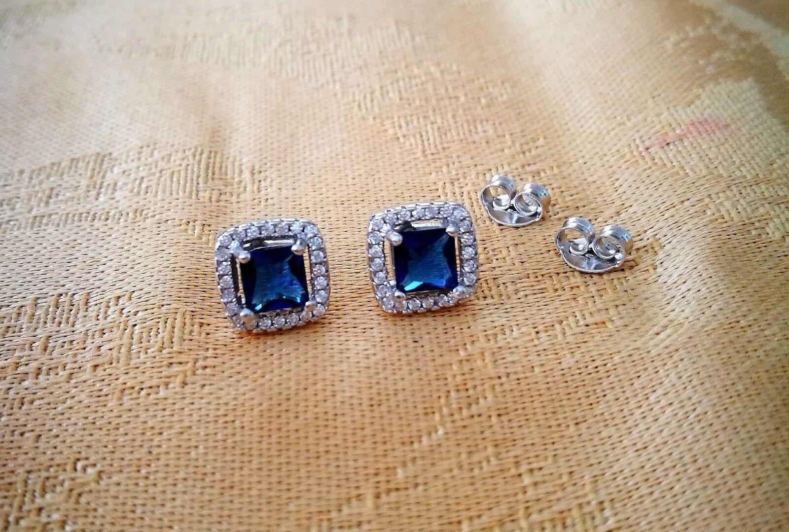 2 Ct Diamond Halo Stud Earrings with Blue Sapphire Women's Studs 14K White Gold 5