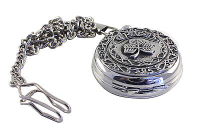 Pocket Watch and Chain Mechanical Irish Shamrock Mullingar Pewter 8415K