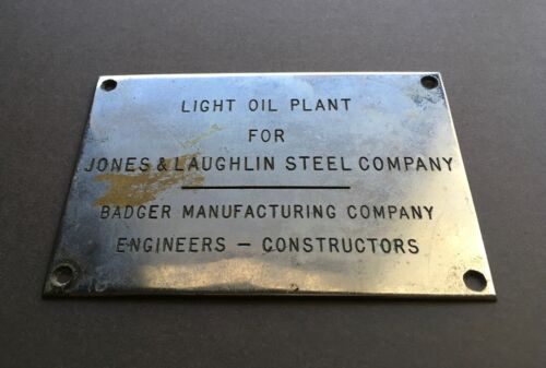 Vintage Metal Sign Light Oil Plant for Jones & Laughlin Steel Company Pittsburgh