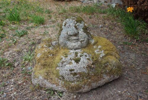 Fine Old Korean Hand Carved Granite Stone Sitting Smiling Dalma Buddha Statue
