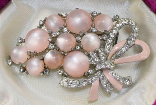 Unsigned Coro Pink Moonglow Fur Clip G Verrecchio 1941 Pat. ~ Lot 4506