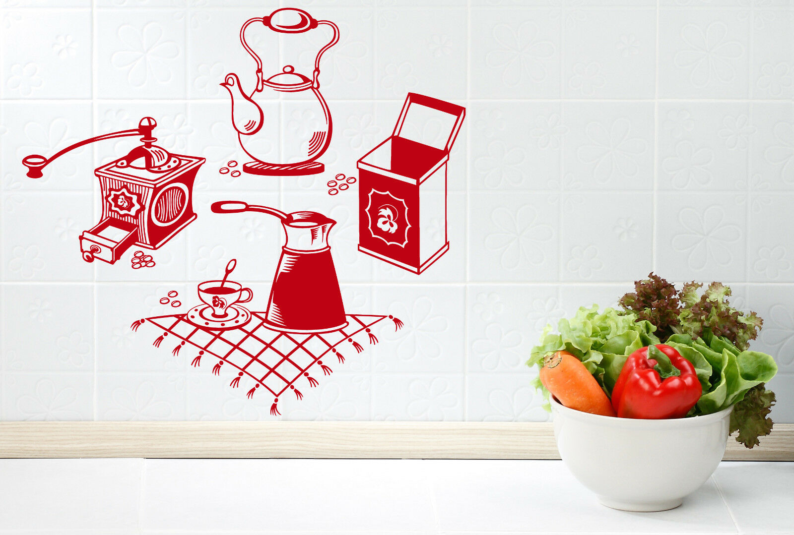 Wall Vinyl Decal Coffee Grinder Maker Tea Maker Kitchen Inte