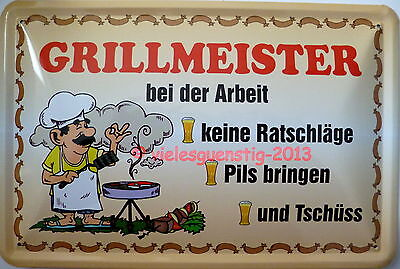 Blechschild 20x30 cm - Spruch - Grillmeister