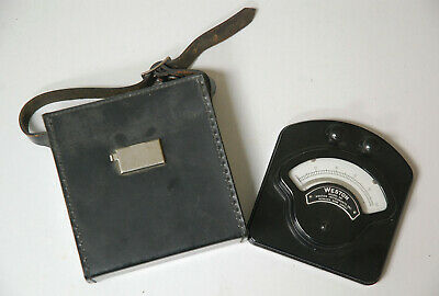 Vintage Weston Model 281 0 To 200 Analog Dc Millivolt Meter With Leather Case