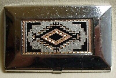 Metal Business Card Case Holder With Navajo Two Grey Hills Rug Pattern Design