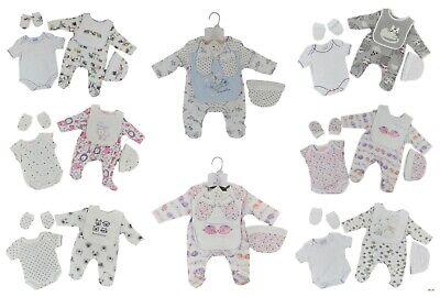 Baby Sleepsuit Vest Bib Mitts Cradle Cap Layette Five Piece Set Boy Girls Unisex