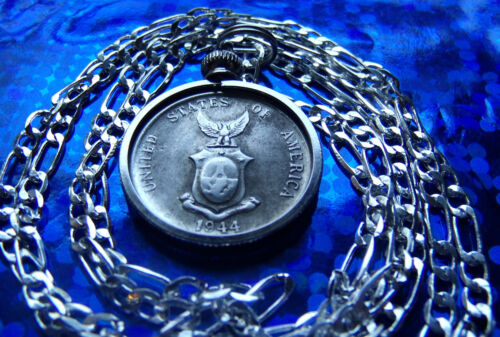 """WWII 1944-1945  US TERRITORY PHILIP .750 SILVER COIN on a 30"""" 925 Silver Chain"""