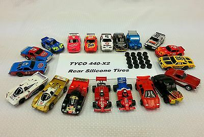 TYCO 440X2 REAR Silicone Tires HO Slot Car Parts 8 pair Lot .448 Dia