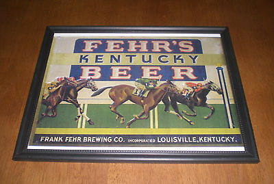 FEHR'S KENTUCKY BEER FRAMED COLOR AD PRINT - LOUISVILLE
