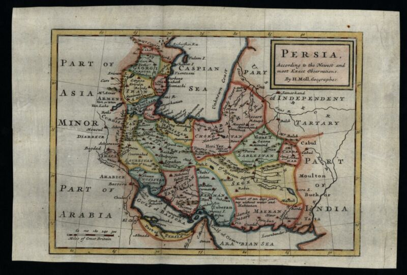 Persia 1712 Iran Caspian Sea Unknown coast charming map lovely hand color