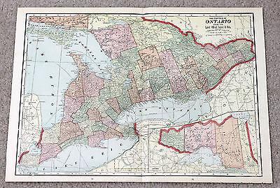 1907 ONTARIO PROVINCE RAILROAD ANTIQUE MAP ORIGINAL GEORGE CRAM ENGRAVING LARGE
