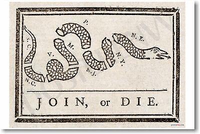 Join Or Die   Ben Franklin   New Historical Fine Art Poster