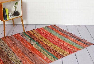 100% Recycled Cotton Handmade Mat Brown Coloured Chindi Floor Rag Rug 5X7 Feet ()
