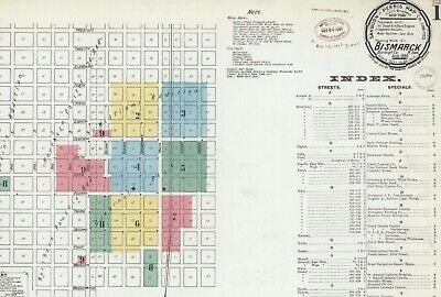 Bismarck, North Dakota~ Sanborn Map© sheets~69 maps in color 1884 to 1919  on CD