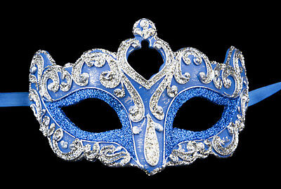 Mask from Venice Wolf Colombine Flavia Blue Silver Paper Mache 2393