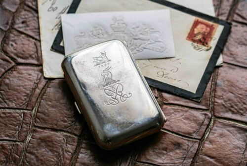 Antique Armorial Sterling Silver Cigarette Case Heraldry