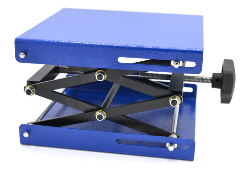 Scissor Jack Laboratory Stand with 7.75 in x 7.75 in Plate, Fully Extended