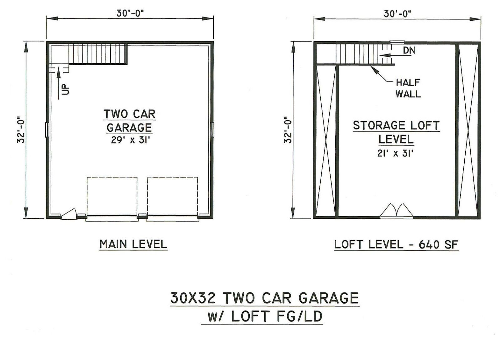 30x32 2 car front gable garage building blueprint plans for How much to build a two car garage with loft