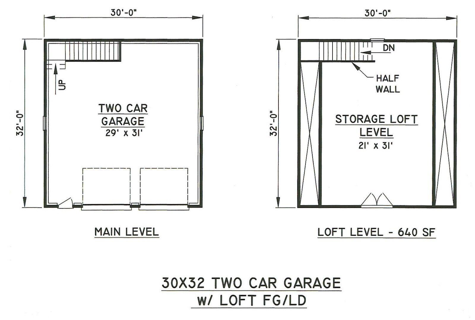 30x32 2 Car Front Gable Garage Building Blueprint Plans