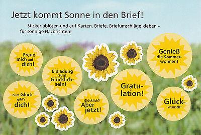 Aufkleber für Briefe, Briefumschläge, Karten, Postkarten: Sommer Sonnenblume