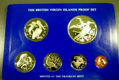 1975 British Virgin Islands 6 Coin Proof Set w/ Sterling Silver Dollar