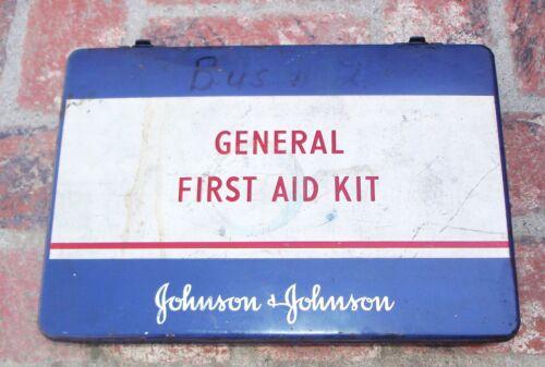 Vintage Johnson & Johnson General First Aid Kit,  Metal Box, Used, Empty