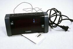 Timex Alarm Clock Radio Jumbo Display T235 Backup Aux In Jack Blck Nice