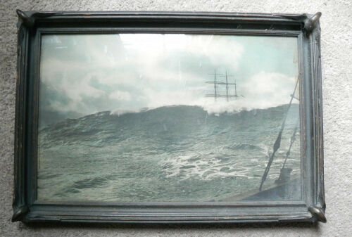 Antique Photograph of Sailing Ships in Heavy Seas. Batwing Piecrust Frame 22X15