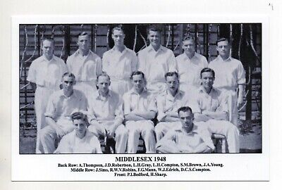 Postcard J F Sporting Collectibles - Cricket Team  Middlesex 1948