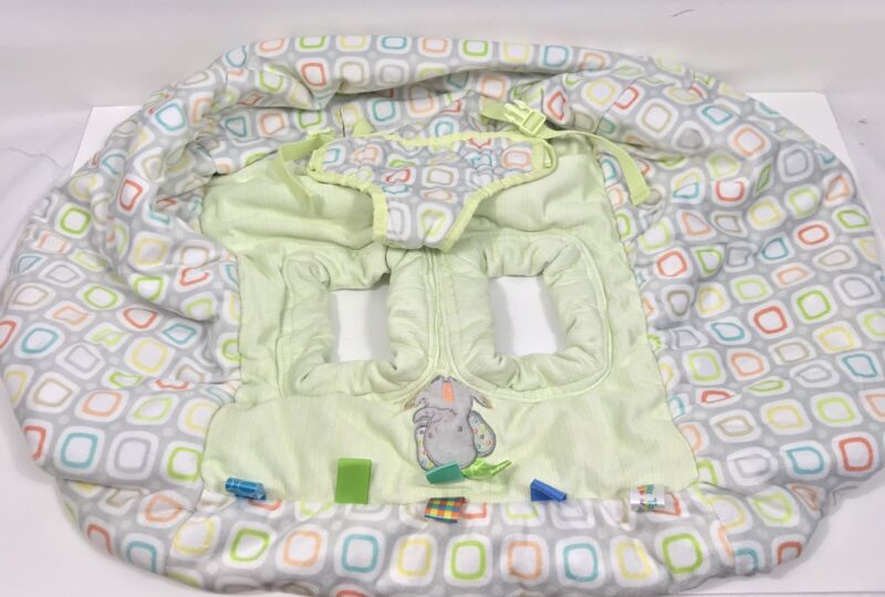 Taggies infant Highchair Grocery Cart Cover Green Gray Pink Elephant