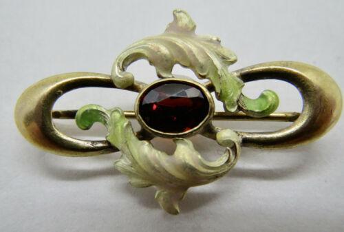 Antique Art Nouveau Brooch Enamel Garnet