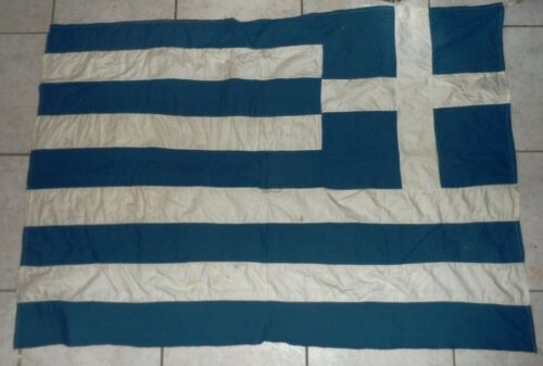 VINTAGE OLD GREEK GREECE COTTON FLAG 122X82 cm FREE intl SHIP