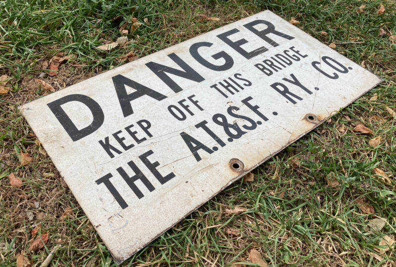 """Antique Atchison, Topeka, And Santa Fe RR Co. Bridge Sign 2 Sided 15""""x30"""" RARE!!"""