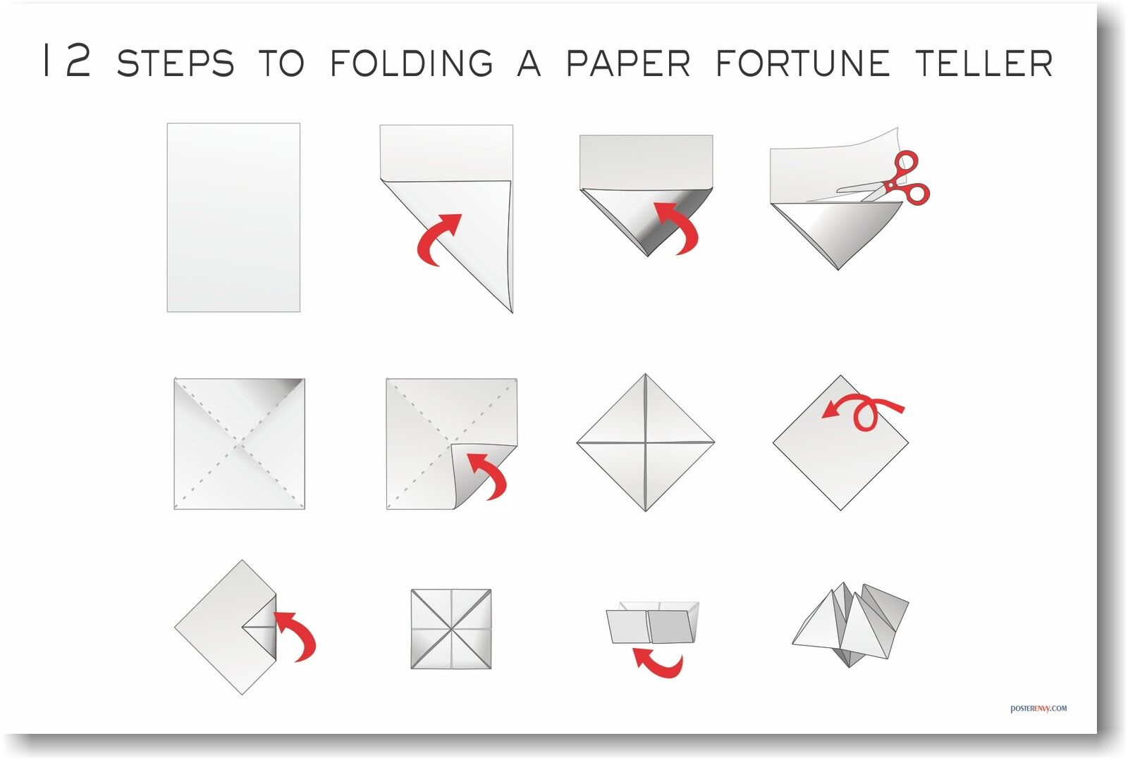 12 steps to folding a paper fortune teller new fine arts for How to make things from paper folding
