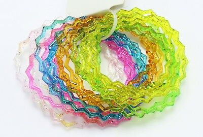 New 48 Piece Zig Zag Glitter Jelly Bracelet Set #B2013-2PC