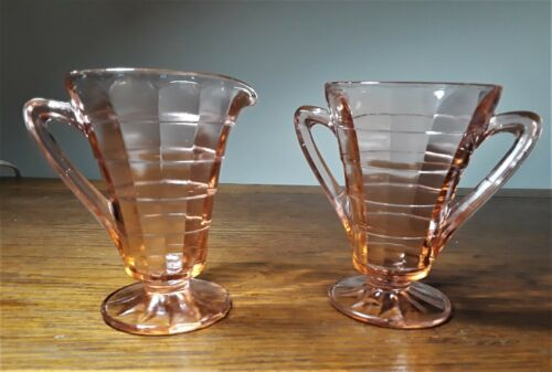 Vintage Art Deco Pink Block Optic Creamer & Sugar Bowl Set