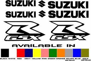 SUZUKI GSXR VINYL DECAL STICKER SET 8 PIECE FAIRING KIT