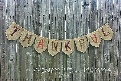 THANKFUL Burlap Banner Thanksgiving fall decoration